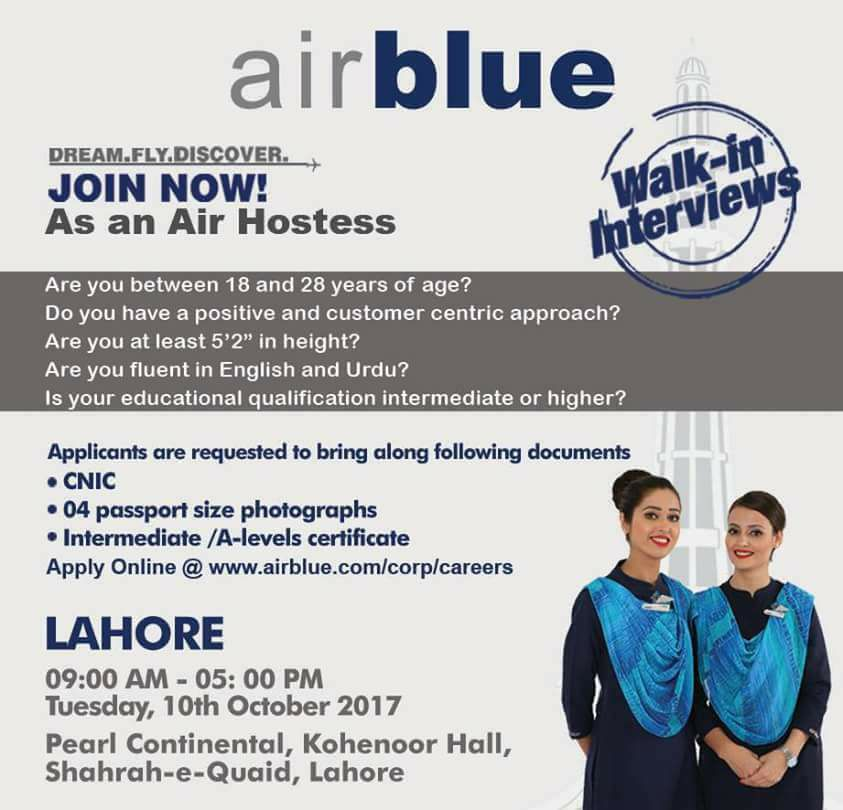 Air Hostess Jobs in AirBlue Flights Company - Walkin Interviews in Lahore on 10th October 2017 - Apply Online Today