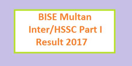 BISE Multan Board HSSC / Inter Part-I Result 2017