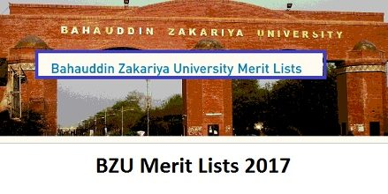 BZU Merit and Waiting Lists BS/MA/MSc/DVM Programs 2017