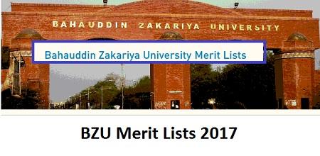 BZU Merit and Waiting Lists 2017 Online MA MSc BS BSc Program
