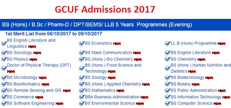 Gcuf Bs Bsc Evening 1st Merit List And Morning 3rd Merit Lists Online 2017 Pakworkers