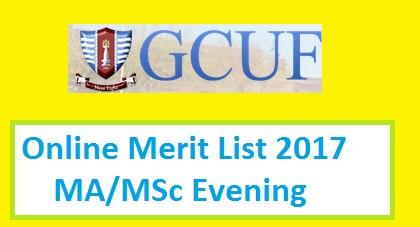 GCU Faisalabad 2nd Merit List of MA/MSc/MPA/MBA Programs (Evening)