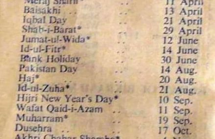 Historical – List of Annual Public Holidays of the Year 1953 in Pakistan