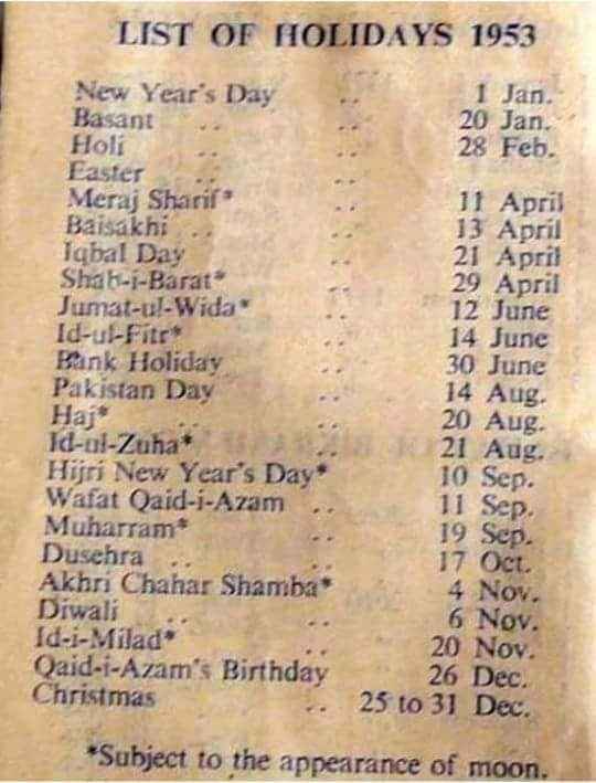 List of Annual Public Holidays in 1953 of Pakistan