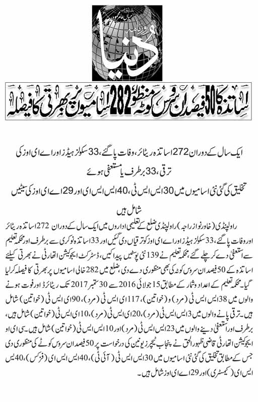 School Teachers In-Service 50 Percent Quota Approved - Recruitment on 282 Posts in Rawalpindi - Daily Dunya News Report 27-10-2017