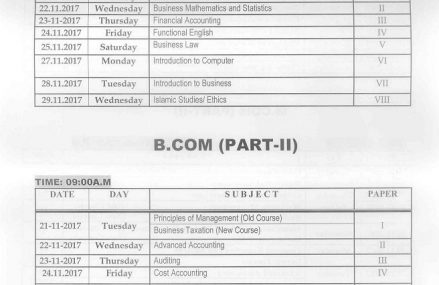 BZU Multan Date sheet B.Com Part I and part II Supply Exam 2017