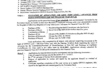 GEPCO Invited Applications for Long Term Loan /Advances from Employees