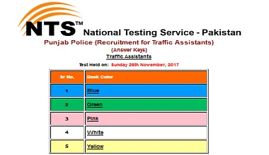 NTS Answer Keys Traffic Assistant Jobs Test Result dated 26 Nov 2017
