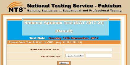 National Aptitude Test NAT 2018-I NTS Result/Answer keys 14 January, Sunday