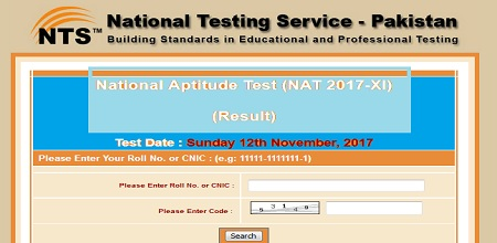 NTS NAT Test Result 12 Nov 2017 Online Subject