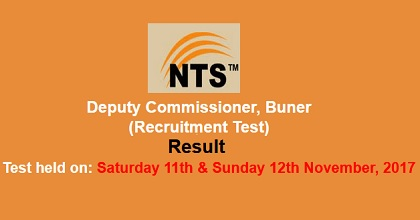 NTS DC Buner Recruitment Test Result Nov 11-12, 2017