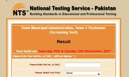 NTS Screening Test Result TMA Town-1 Peshawar Nov 2017