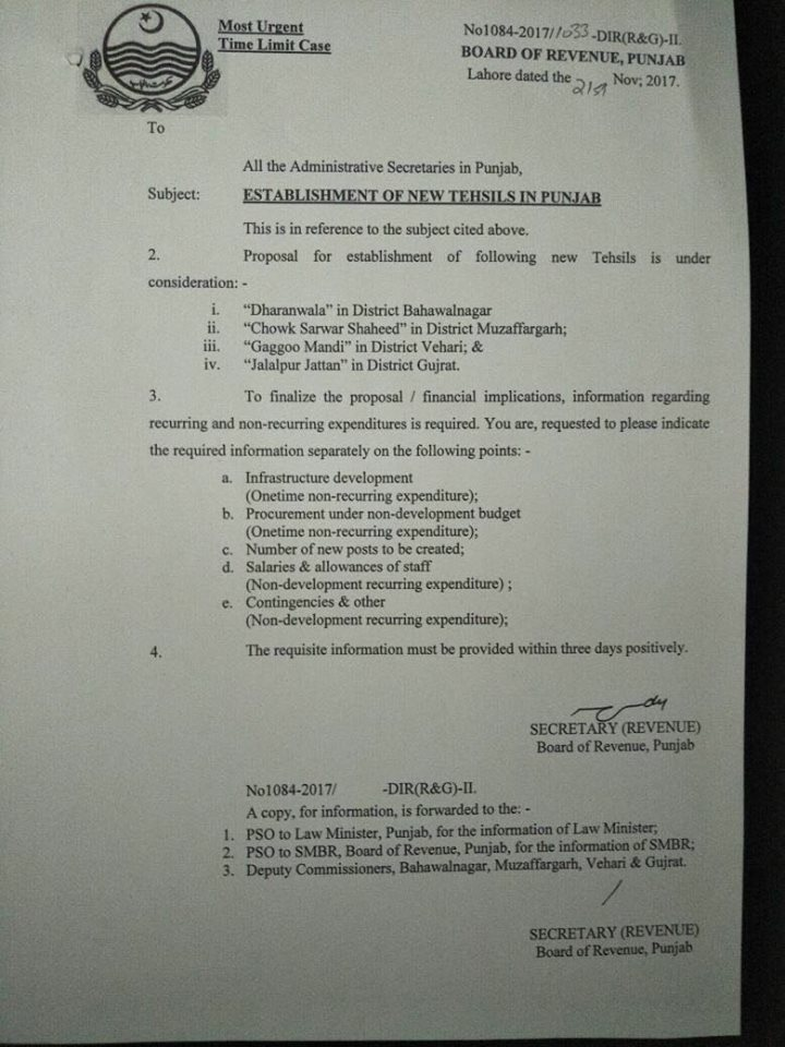 New Tehsils Notification in Punjab Province i e Chowk Sarwar Shaheed (Chowk Munda District Muzaffargarh), Dahranwala (District Bahawalnagar), Gaggo (District Vehari) mandi and Jalapur jattan (district Gujrat) dated 21-11-2017