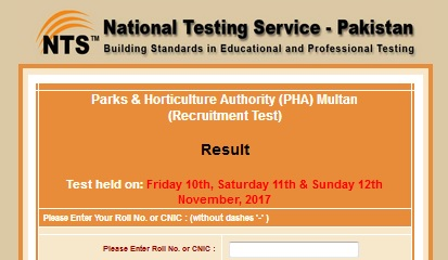NTS PHA Multan Test Result Nov 2017 Online