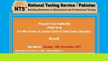 NTS Test Results Punjab Food Authority (PFA) Lahore Held in Nov 2017