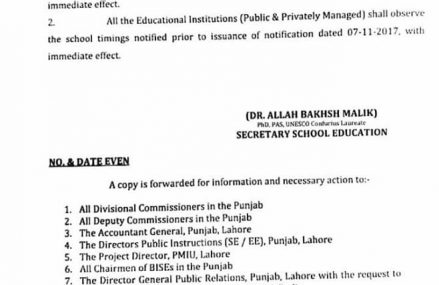 Punjab School Education Dept Withdrawn Timing Notification during Smog Spell 2017