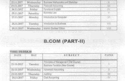 BZU Multan Date sheet B.Com Part I and part II Supply Exam 2017