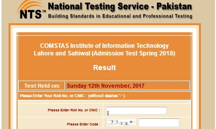 NTS Comsats CIIT Lahore, Sahiwal Admission Test Result 2017-2018