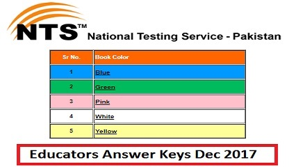 Educators NTS Answer Keys Result ESE, SESE, SSE and AEO 28-30 December 2017