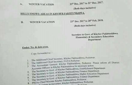 KPK Winter Schools Vacations/Holiday Notification 2017-2018