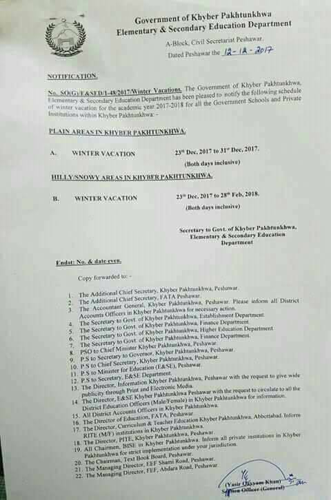 Notification of Winter Vacation for the academic year 2017-18 for all the Government Schools and Private intuitions within Govt Khyber Pakhtunkhwa