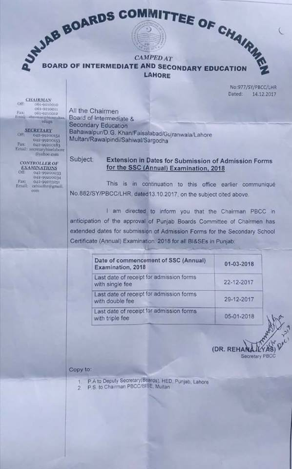 Pbcc Extended Dates For Submission Of Admission Forms For