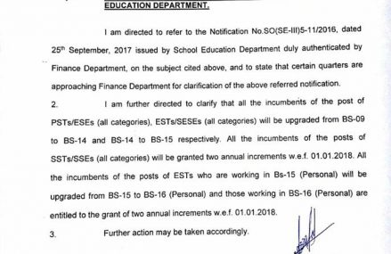 Clarification Notification of Up-gradation of Posts of teachers in Punjab education department dated 25-01-2018