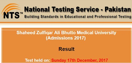 NTS ZAB Medical University Admission Test Result 2017-2018