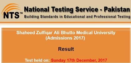 NTS ZAB Medical University Admission Test Result 2017-2018