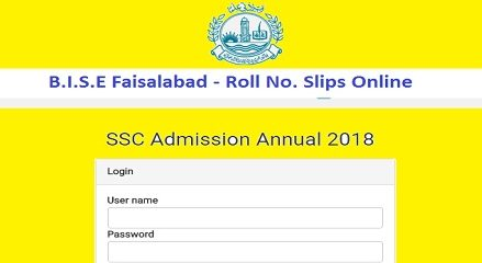 Roll No Slips 2018 Matric/SSC/10th Class BISE Faisalabad Board Online