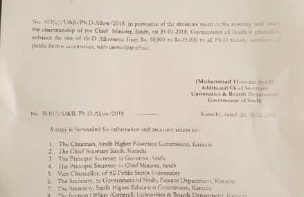 Ph.D Allowance Increase Notification Sindh Govt for University Teachers Feb 8, 2018