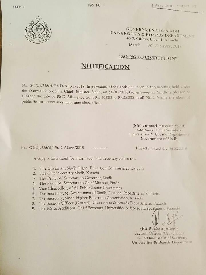 Sindh Govt Notification - Increase in Ph.D Allowance for University teachers Dated 08-02-2018