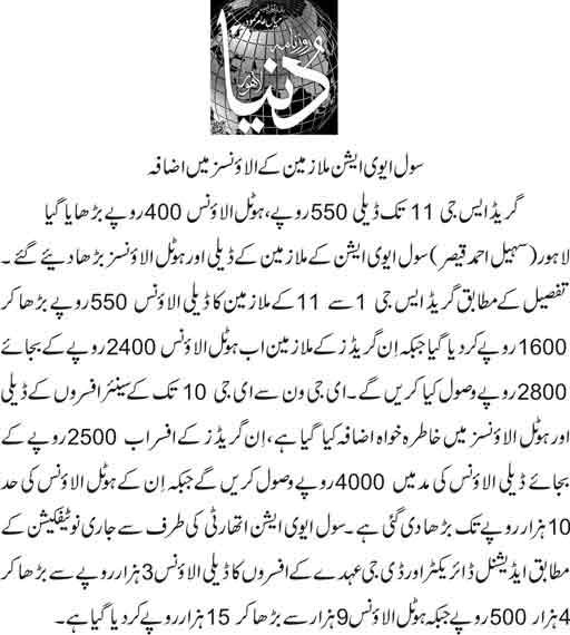 Civil Aviation (CAA) Pakistan Employees Allowances Increased - Notification in Feb 2018