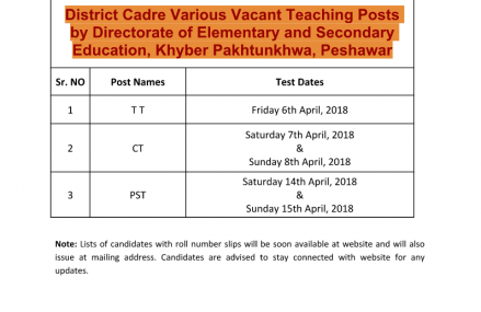 New Date and Schedule of NTS Test for KPK School Teachers Jobs