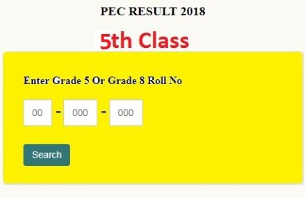 PEC 5th Class Results 2018 Online