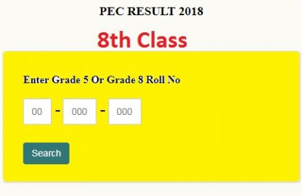 PEC 8th Class Results 2018 Online