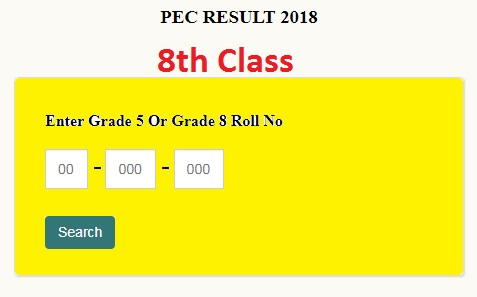 PEC 8th Class Result Online