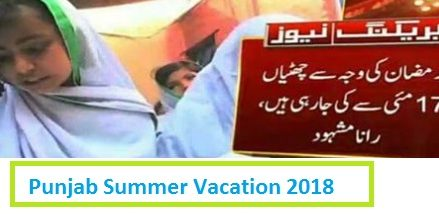 Punjab Govt Announced Summer Vacation/Holidays from 17 May 2018