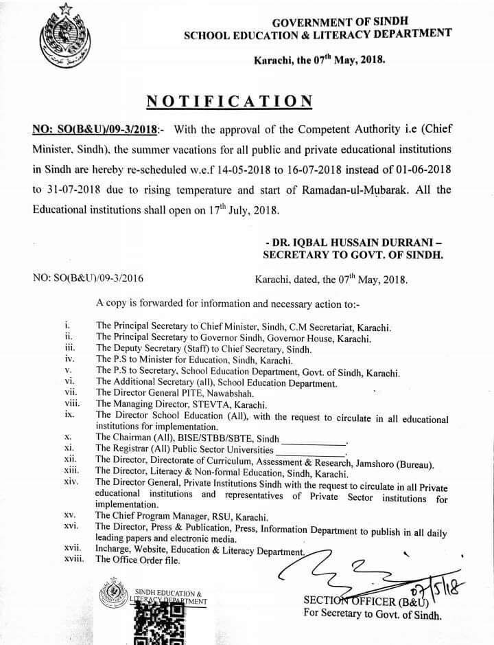 Sindh Summer Vacation Notification 2018 for Schools and Colleges