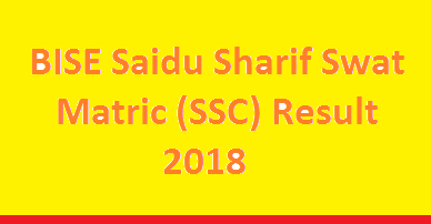 BISE Saidu Sharif Swat Board Matric SSC Result 2018 - Online Toppers List Class 9th Class 10th