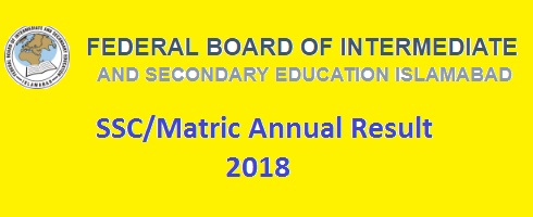 FBISE SSC-II Matric Result 2018 Online - Class X - 10th Part 2