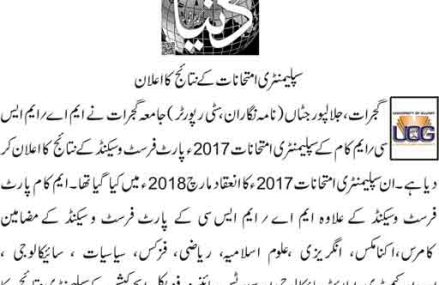 Gujrat University MA MSc Supply Result 2017 announced in June 2018