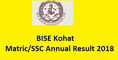BISE Kohat Board Matric/SSC Result 2018 – Class 9th, 10th Online Positions