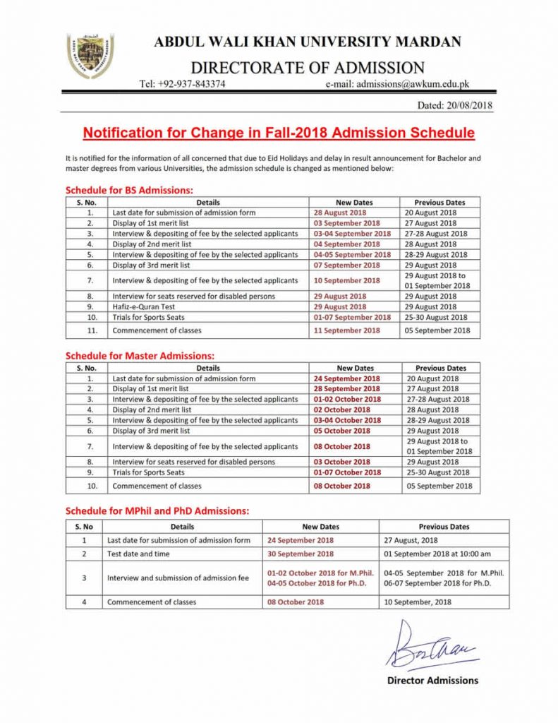 AWKUM University Mardan Change in Admission Schedule for BS, Masters and MPhil Programs Fall 2018