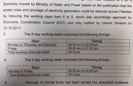 Establishment Division Summary on Working Week Duration for Cabinet