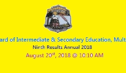 BISE Multan 9th Class SSC Part I Result 2018 Online Today