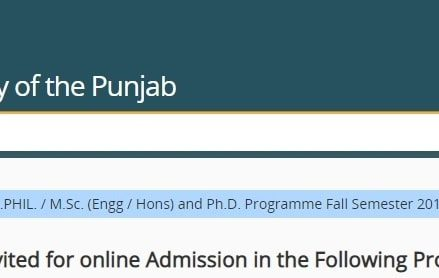 University of Punjab Masters/Post Graduate Admission Schedule 2018 – Merit List, Entry Test Results