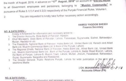 Employees Salary Payment Before Eid ul Azha 2018 – Punjab Govt Notification Issued