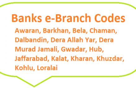 Banks e-Branch Codes Awaran, Barkhan, Bela, Chaman, Dalbandin, Dera Allah Yar, Dera Murad Jamali, Gwadar, Hub, Jaffarabad, Kalat, Kharan, Khuzdar, Kohlu, Loralai