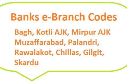 Banks e-Branch Codes Bagh, Kotli AJK, Mirpur AJK, Muzaffarabad, Palandri, Rawalakot, Chillas, Gilgit, Skardu